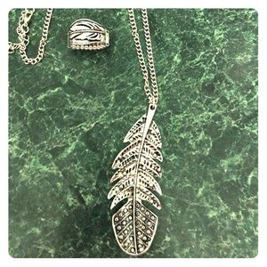 Feather Necklace and ring set